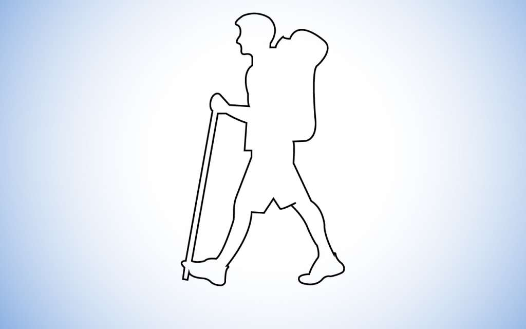Outline image of a person wearing hiking equipment and walking.